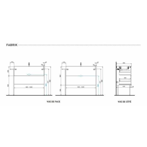Meuble simple vasque FABRIK 104 cm Origine Chêne brut Schéma- FABRIK Discac
