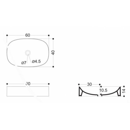Vasque en céramique WILD Rectangle 60 Blackmat Vasque WILD Rectangle WWL3081 Schéma
