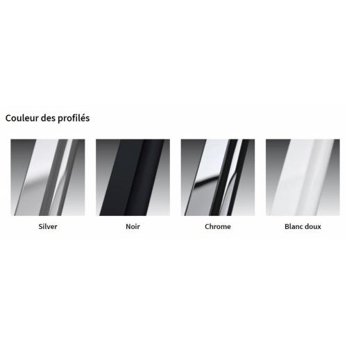 Paroi 2 portes battantes KUADRA 2.0 2B - Sérigraphie Rose - Profilé Noir - 70cm Couleur profilé KUADRA