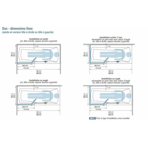 Combiné Bain/Douche DUO 160x75 cm - Tête à Gauche Dimensions DUO