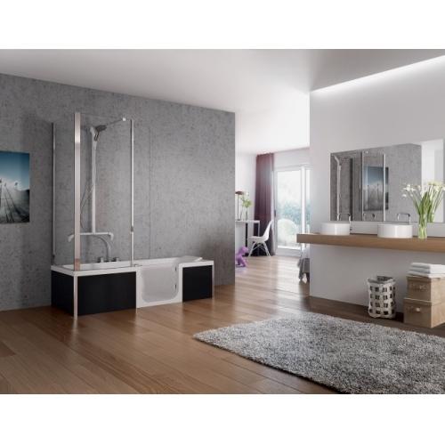 Retour d'angle transparent pour pare-bain DUO - 75 cm DUO contre mur Droite