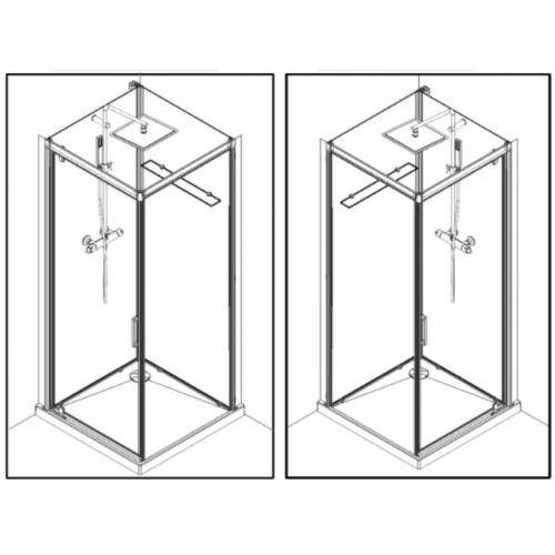 Cabine de douche BROOKLYN FACTORY 90x90 cm - Porte pivotante BROOKLYN Pivotante Réversible