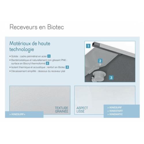 Receveur KINESURF+ Noir Mat - Bonde centrée sur la largeur - 70x120 cm Receveur en Biotec