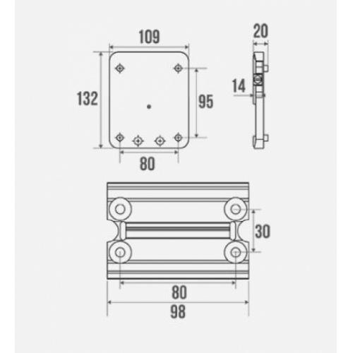 Kit Platine pour accoudoir et barre ARSIS - Blanc Schéma 044110