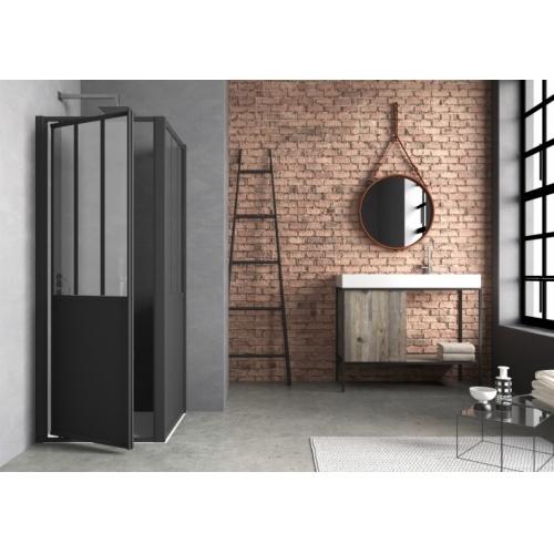 Porte de douche pivotante LOFT Steel 80 cm - Version Gauche LOFT Steel porte pivotant angle VG