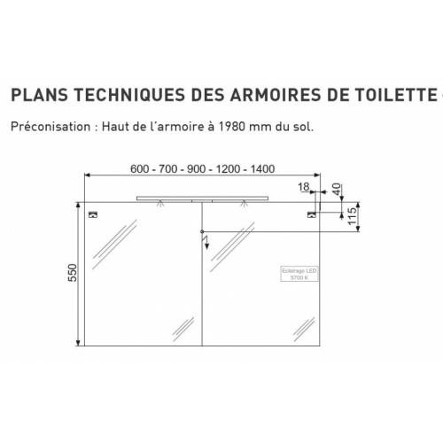 Meuble double vasque 4 tiroirs 120 cm RIVAGE Cristal Blanc Armoire de toilette Techniques