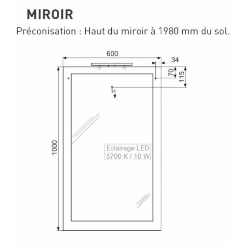 Meuble double vasque 4 tiroirs 120 cm RIVAGE Cristal Blanc PLAZA Techniques