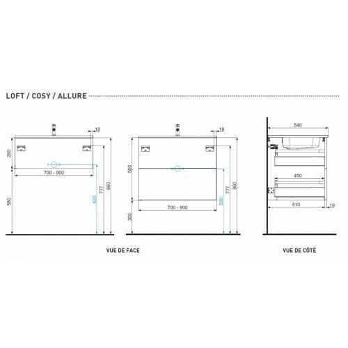 Meuble simple vasque LOFT 140 cm Opale Noir Plans Tech LOFT - COSY - ALLURE
