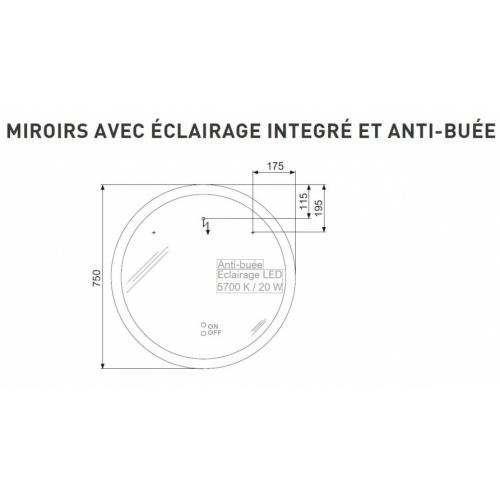 Meuble simple vasque LOFT 90 Bleu canard Miroir Rond Tech