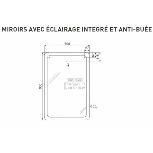 Meuble simple vasque VOGUE/LOFT 70 Sciée Blanc et Gris Miroir QadraTech