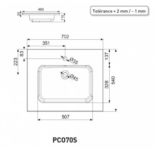 Meuble simple vasque TRENDY 70 cm Cristal Argile PCO70S - Plan SAVANE 70 Schéma