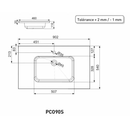Meuble simple vasque LOFT 90 Bleu canard PCO90S - Plan SAVANE 90 Schéma