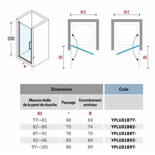 Porte de douche pivotante YOUNG PLUS - Profilé Silver - 80 cm YOUNG PLus 1B Schéma