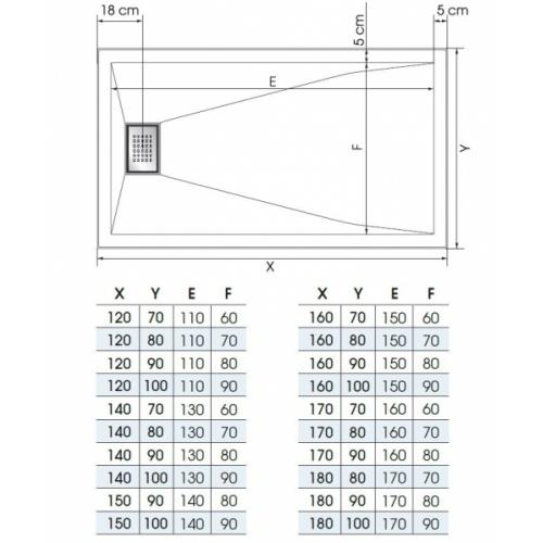 Receveur KINESURF+ Noir Mat - Bonde centrée sur la largeur - 70x120 cm Kinesurf+ Bonde largeur Schéma