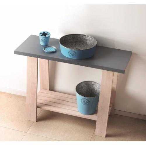 Ensemble de salle de bains KIOTO en Zinc Bleu KIOTO Bleu Ambiance