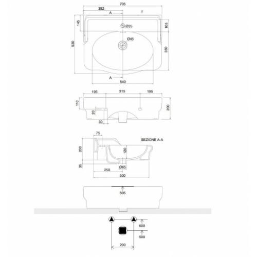 Vasque sur Colonne CASTELLANA Blanc - 90 cm CASTELLANA 5301 Schéma