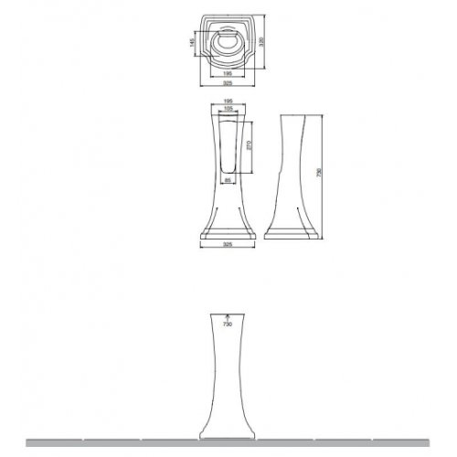 Vasque sur Colonne CASTELLANA Blanc - 90 cm Colonne CASTELLANA