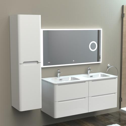 Meuble double vasque 120cm TOOLA Blanc Brillant sans miroir