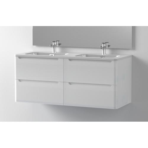 Meuble double vasque 120cm TOOLA Blanc Brillant sans miroir Toola-120-blanc