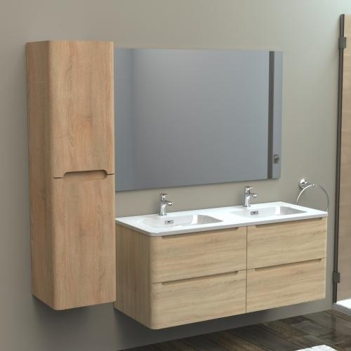 Meuble double vasque 120cm TOOLA Bois Clair sans miroir