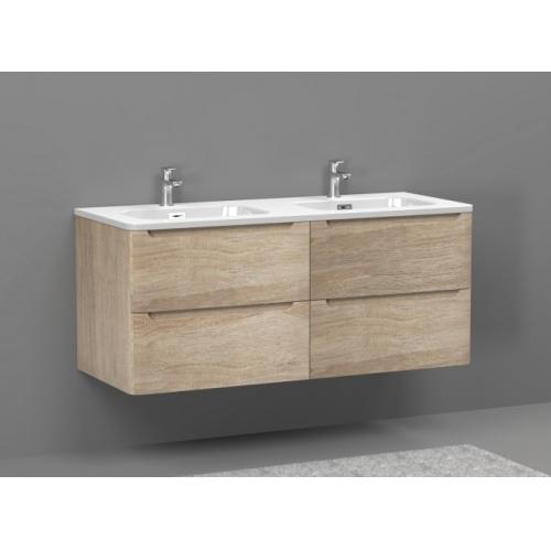 Meuble double vasque 120cm TOOLA Bois Clair sans miroir Toola-120-bois clair