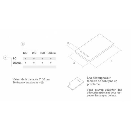 Receveur de douche souple SolidSoft LINEAR DRAIN Blanc 90x120 cm Dimensions Linear Drain