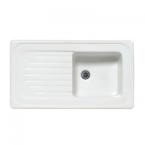 Évier à encastrer en céramique ISLANDE 90 cm - Blanc