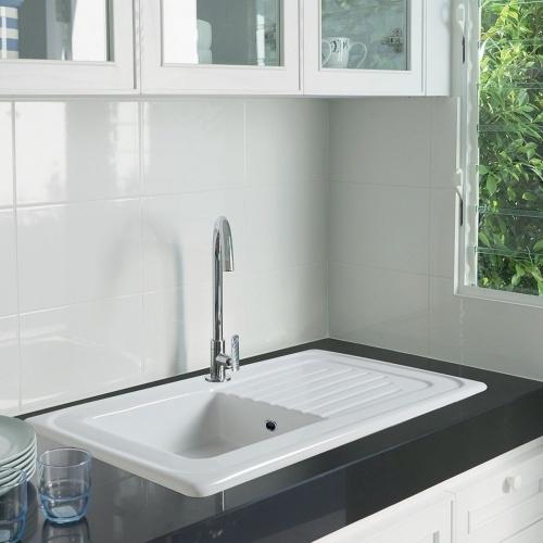 Évier à encastrer en céramique ISLANDE 90 cm - Blanc ISLANDE 90 Amb
