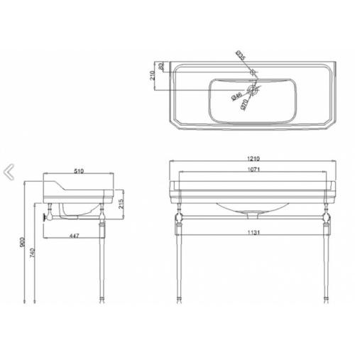 Simple vasque rectangulaire Edouardien Burlington - 1 Trou robinetterie B19 T51 Schéma
