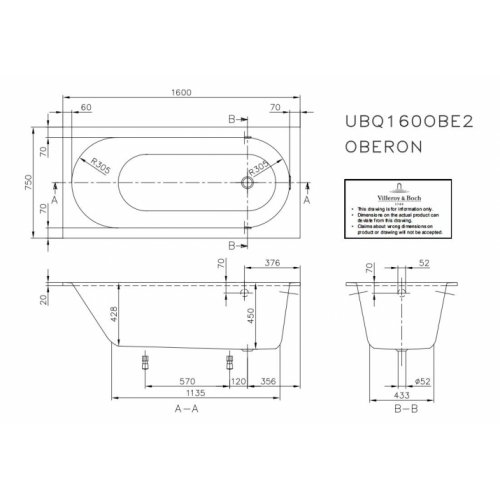 Baignoire à encastrer OBERON 160x75 cm OBERON 160 Schéma