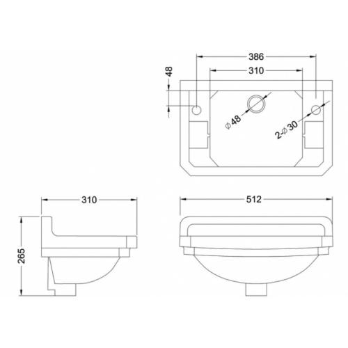 Lave-mains + Console EDOUARDIEN - 2 Trous de Robinetterie B8 Schéma