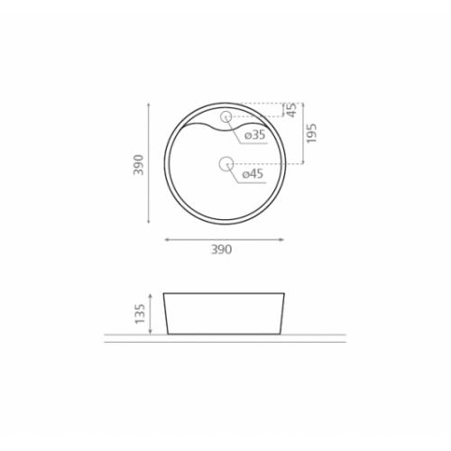 Vasque à poser VIENA 0040_VIENA_schema