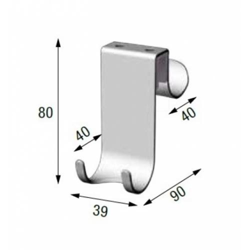 Crochet en acier pour paroi de douche R90APPEN0G Schéma