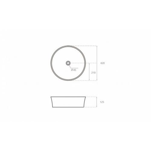 Vasque ronde à poser VOLTA Ø 42 cm VOLTA schéma