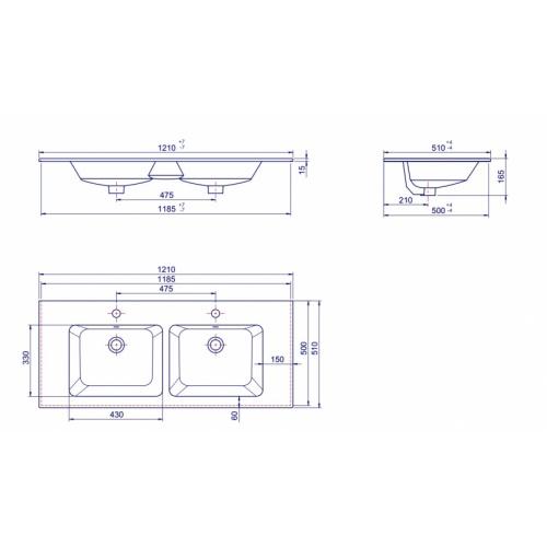 Meuble double vasque BIZ 120 cm Gris Brillant + Miroir Lite PMCER122