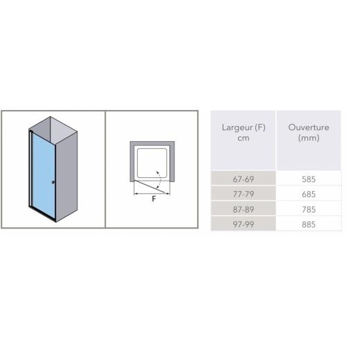 Porte battante en niche HADA - Transparent - Argent HB - 100cm HADA Battante Schéma