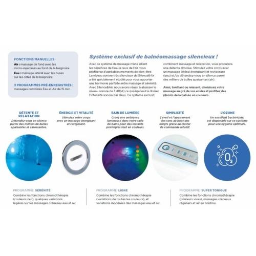 Baignoire rectangulaire balnéo ZUMBA - Tête à Droite - Silence & Air Silence et Air
