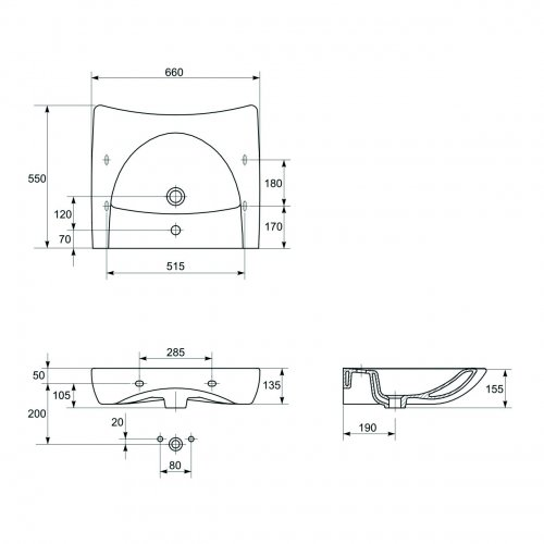 Lavabo en céramique PMR* Lavabo PMR schéma