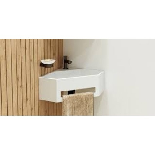 Lave-mains d'angle ANGO avec porte serviette intégré ango amb