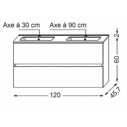 Meuble double vasque NOLITA Chêne Arlington SANICA 120 Schéma