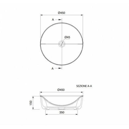 Vasque à poser ronde MIZU 45 avec couvercle 9001 Schéma