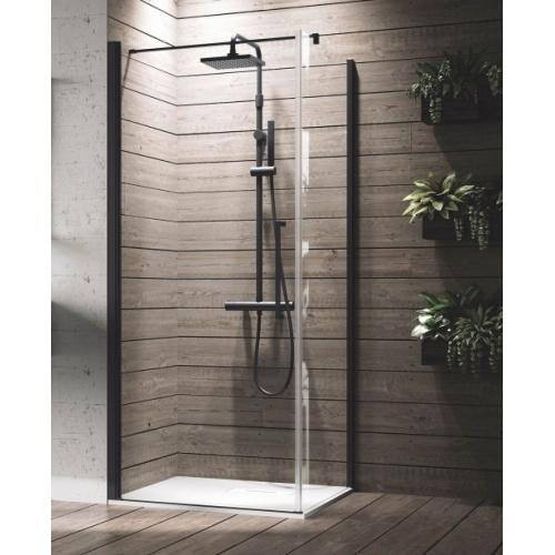 Porte de douche battante YOUNG G Noir - 80 cm