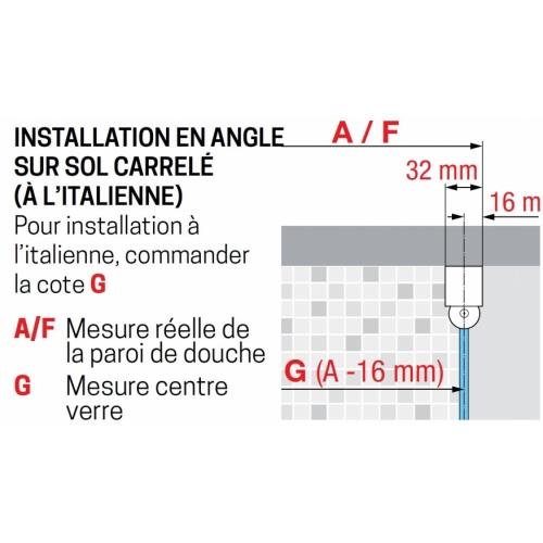 Porte de douche battante YOUNG G Noir - 80 cm Installation en angle YOUNG GF