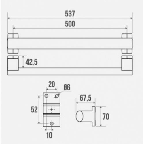 Barre droite ARSIS 500 mm Blanc 049850 Schéma