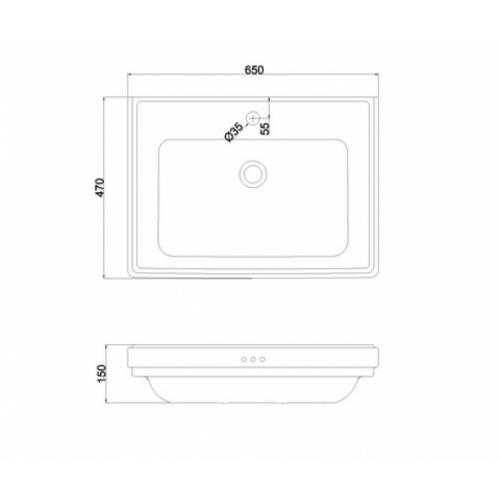 Vasque Rétro rectangulaire RIVIERA 65 cm - Non percé RIV2 Schéma