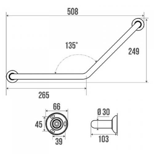 Barre d'appui coudée 135°, symétrique, 265 x 265 mm Schéma 049220