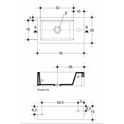 Lave-mains suspendu Hox mini - WHX4509 COTES HOX MINI WHX4509
