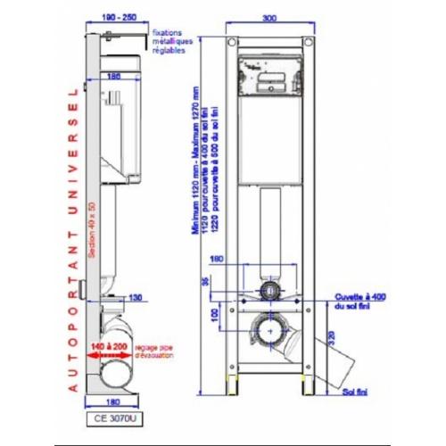 Bâti-support césame universel COTES CE 3070 U
