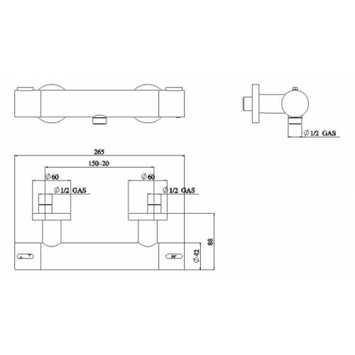 Mitigeur douche thermostatique chromé LIKID LK00030 COTE