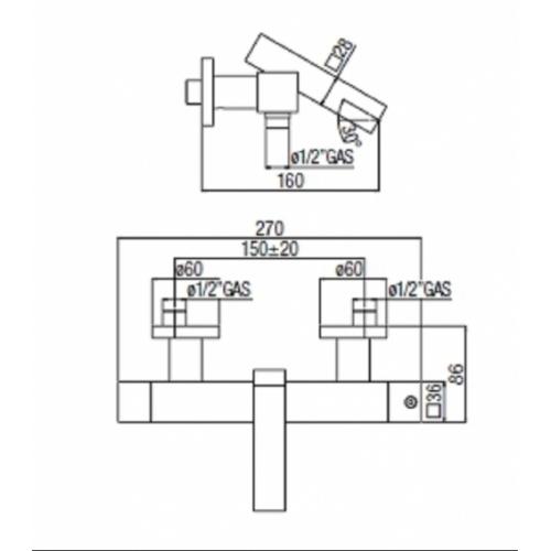 Mitigeur bain-douche thermo chromé TOWER TW00010 COTE